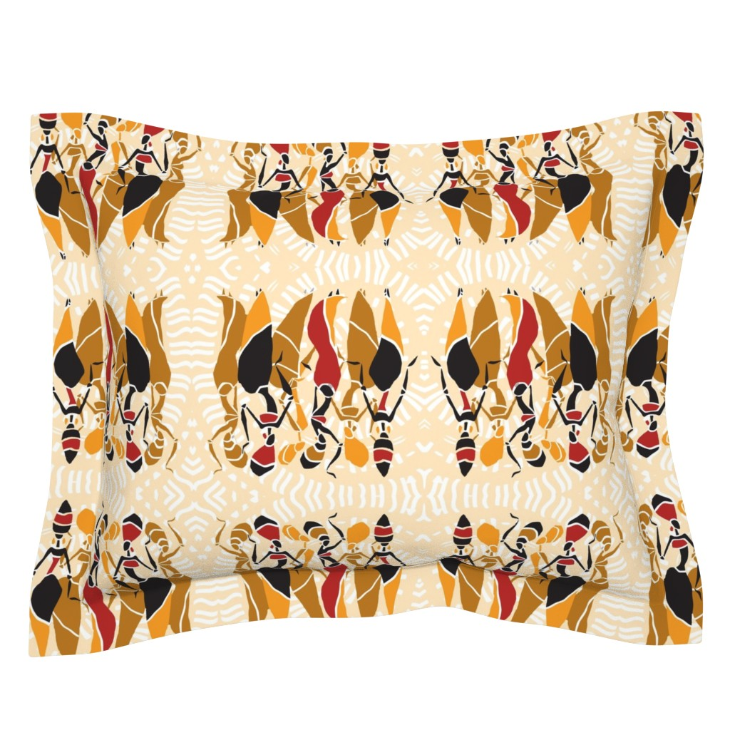 Sebright Pillow Sham featuring African Tribal Women on Cream Mandala by fabric_is_my_name