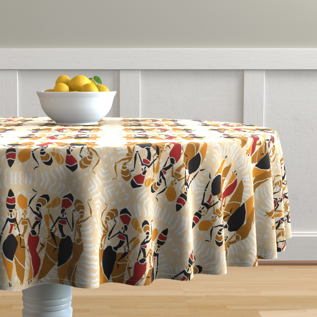 Malay Round Tablecloth featuring African Tribal Women on Cream Mandala by fabric_is_my_name