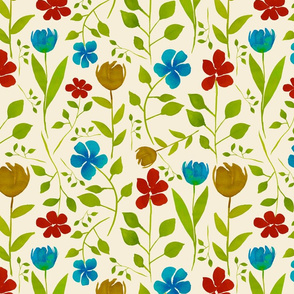 Turquoise, Red and Gold Flowers on Cream