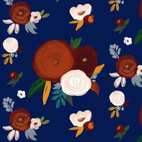 Fall flowers on navy