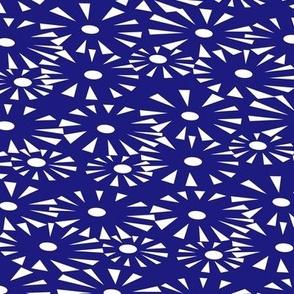 Go go Fireworks - orange and white on blue