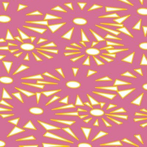 Go go Fireworks - white and yellow on pink