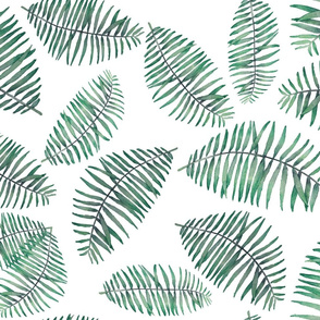 palm leaves random repeat on white soft