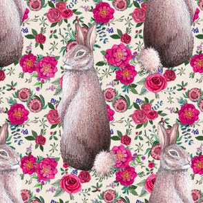 watercolor rabbit floral fall / winter in watercolor