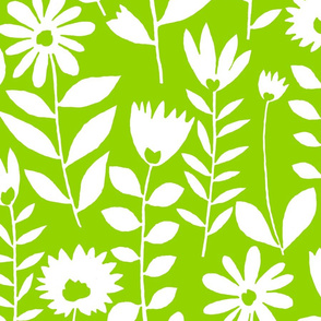 cutout flower (white on lime)