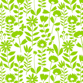 cutout flower (lime on white)