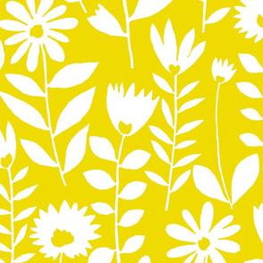 cutout flower (white on mustard)