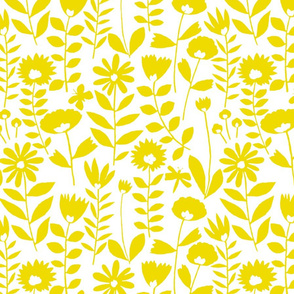 cutout flower (mustard on white)