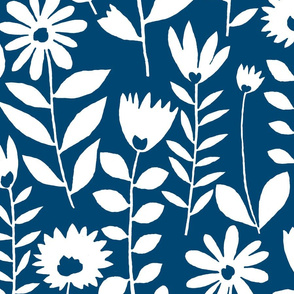 cutout flower (white on navy)