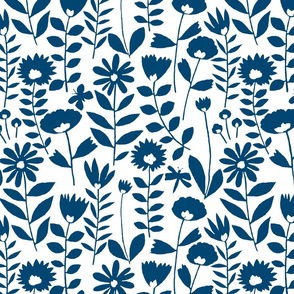 cutout flower small scale (navy on white)