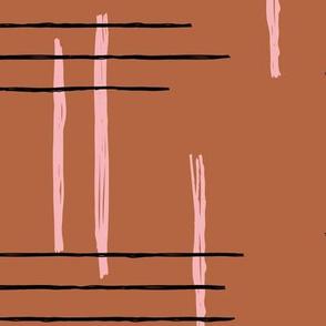 Retro mid-century Scandinavian minimal design abstract strokes retro pink copper brown JUMBO
