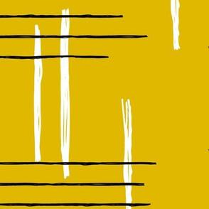 Retro mid-century Scandinavian minimal design abstract strokes retro autumn mustard ochre yellow JUMBO