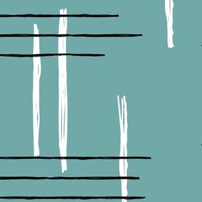 Retro mid-century Scandinavian minimal design abstract strokes retro winter ice blue JUMBO