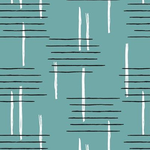 Retro mid-century Scandinavian minimal design abstract strokes retro winter ice blue
