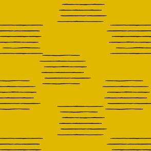 Abstract grid strokes horizontal lines minimal Scandinavian mid-century design yellow ochre fall