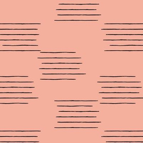 Abstract grid strokes horizontal lines minimal Scandinavian mid-century design pink peach fall