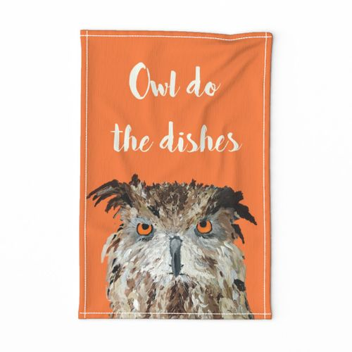 Owl do the Dishes Tea Towel