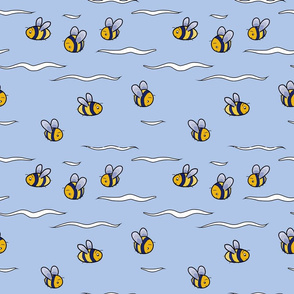 Cute bees flying around