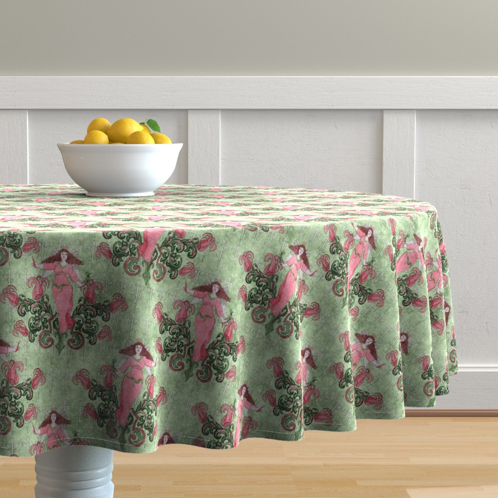 Malay Round Tablecloth featuring Victorian Angel Watercolor, medium by palifino