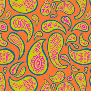 new paisley pattern 3 ORANGE DK teal FUCHSIA chartreuse-01