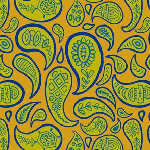 new paisley pattern MUSTARD celery BLUE DK TEAL-01