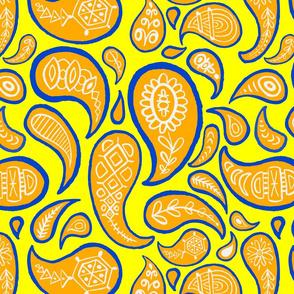 new paisley pattern YELLOW orange blue white-01