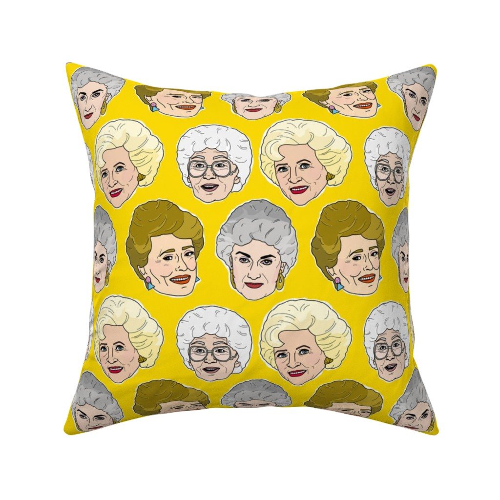 Catalan Throw Pillow featuring Golden Girls Illustration in Stay Golden Yellow by elliottdesignfactory