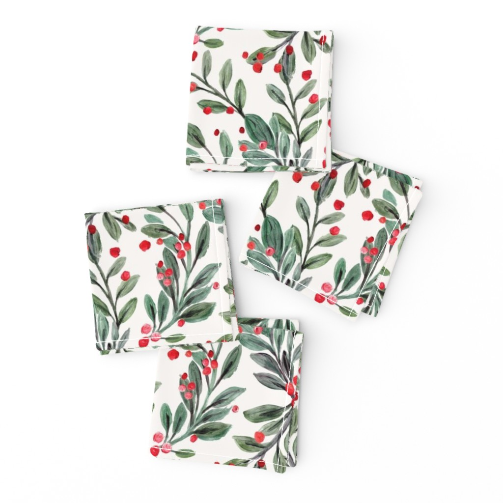 Frizzle Cocktail Napkins featuring mistletoe and red berries by crystal_walen