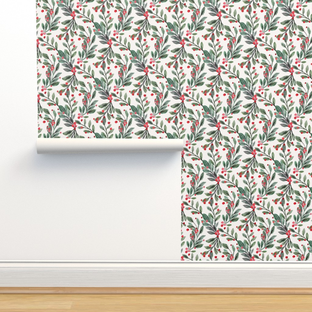 Isobar Durable Wallpaper featuring mistletoe and red berries by crystal_walen