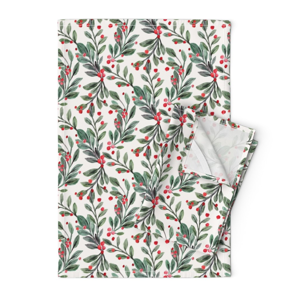 Orpington Tea Towels featuring mistletoe and red berries by crystal_walen