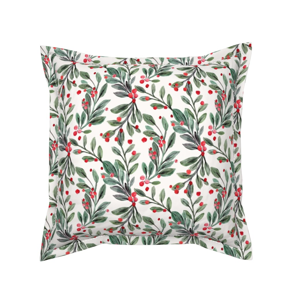 Serama Throw Pillow featuring mistletoe and red berries by crystal_walen