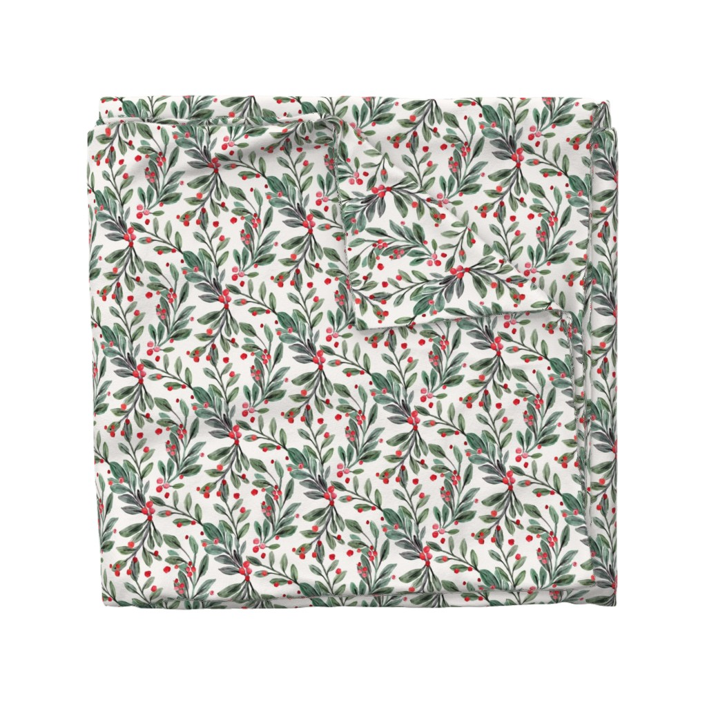 Wyandotte Duvet Cover featuring mistletoe and red berries by crystal_walen