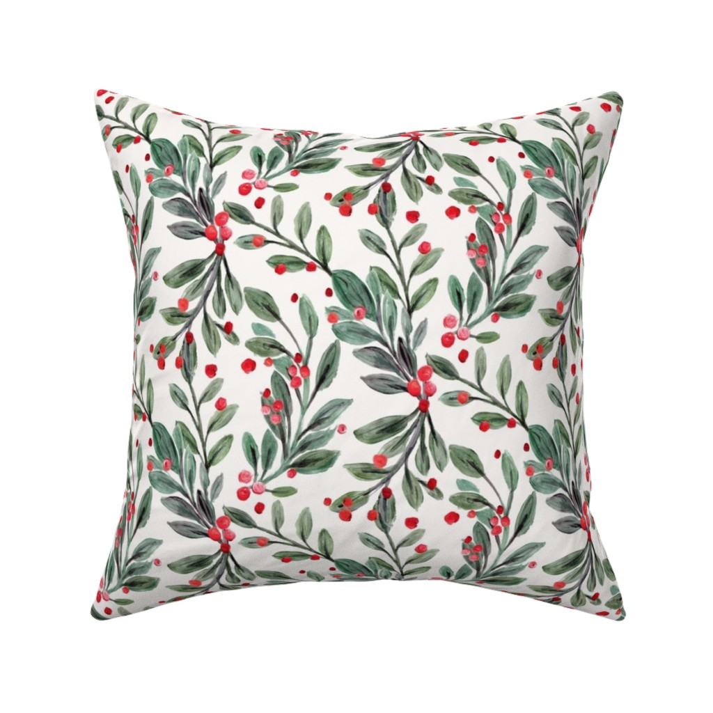 Catalan Throw Pillow featuring mistletoe and red berries by crystal_walen