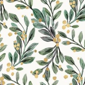 mistletoe sage and gold berries