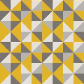 Retro Triangle Pattern in Yellow and Grey