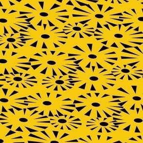 Go go fireworks - black on yellow