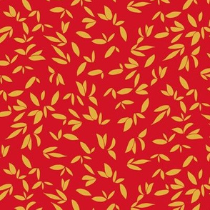 Leaves Gold on Red