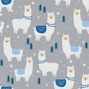 winter llama - christmas, holiday, xmas, llamas - cute alpaca fabric - grey and blue