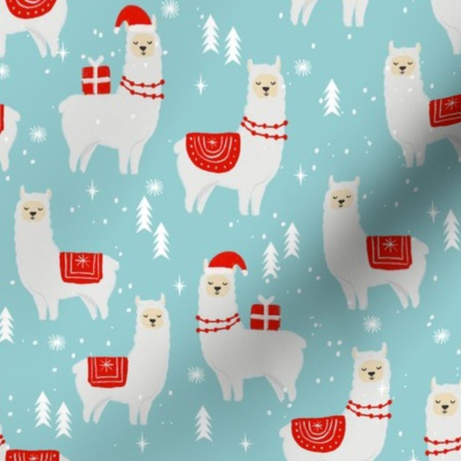 Llama Christmas.Fabric By The Yard Winter Llama Christmas Holiday Xmas Llamas Cute Alpaca Fabric Blue And Red