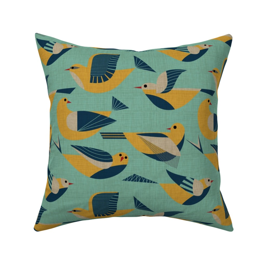 Catalan Throw Pillow featuring Flying in blue and gold by vo_aka_virginiao