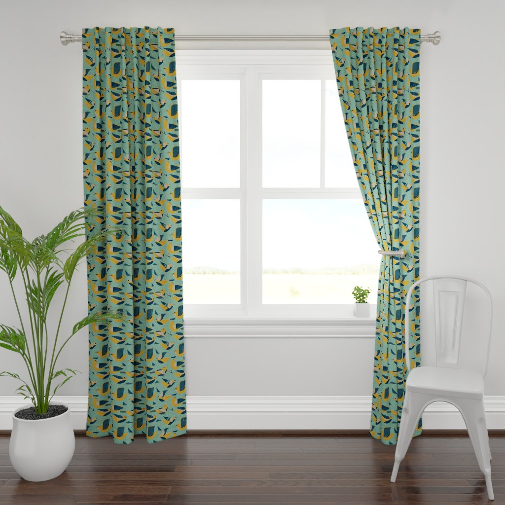 Plymouth Curtain Panel featuring Flying in blue and gold by vo_aka_virginiao