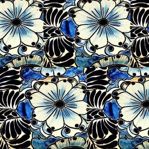 Indigo Blue Flower Talavera