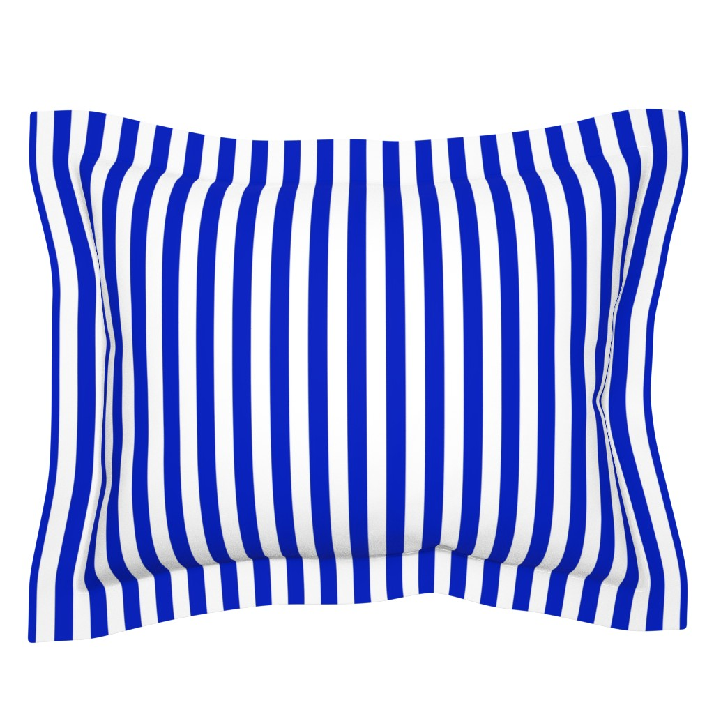 """Sebright Pillow Sham featuring 3/4"""" Vertical Cobalt Blue and White Stripe by paper_and_frill"""
