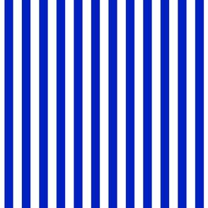 "3/4"" Vertical Cobalt Blue and White Stripe"