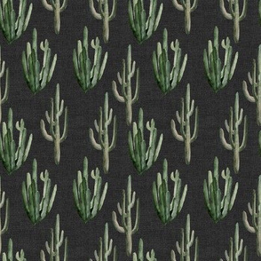 "4"" Western Watercolor Cactus // Charcoal Linen"