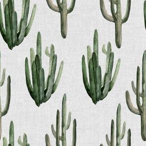 "8"" Western Watercolor Cactus // Light Gray Linen"