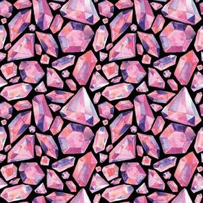 Pink Gems - Black Background - Smaller Scale