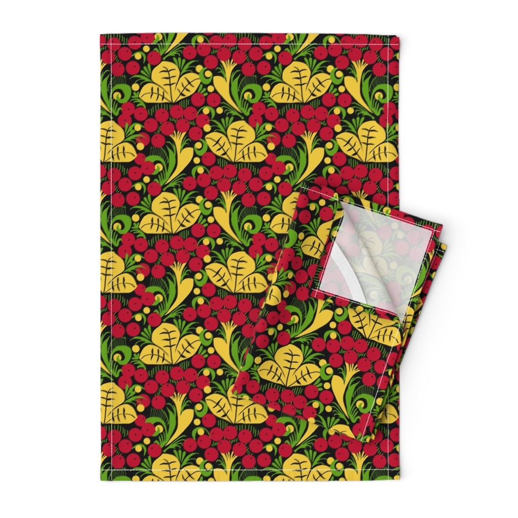 Orpington Tea Towels featuring Folk Art Floral by elliottdesignfactory