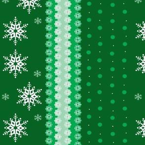snowflakes on green