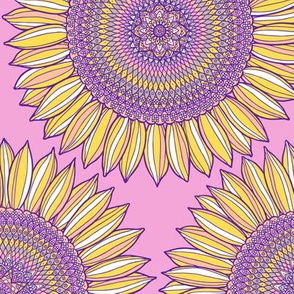 Mandala sunflowers in yellow, pink and violet